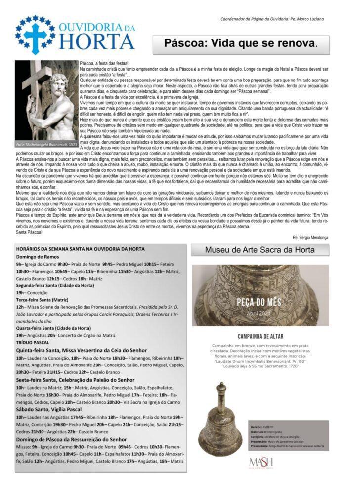 Página da responsabilidade da Ouvidoria da Horta